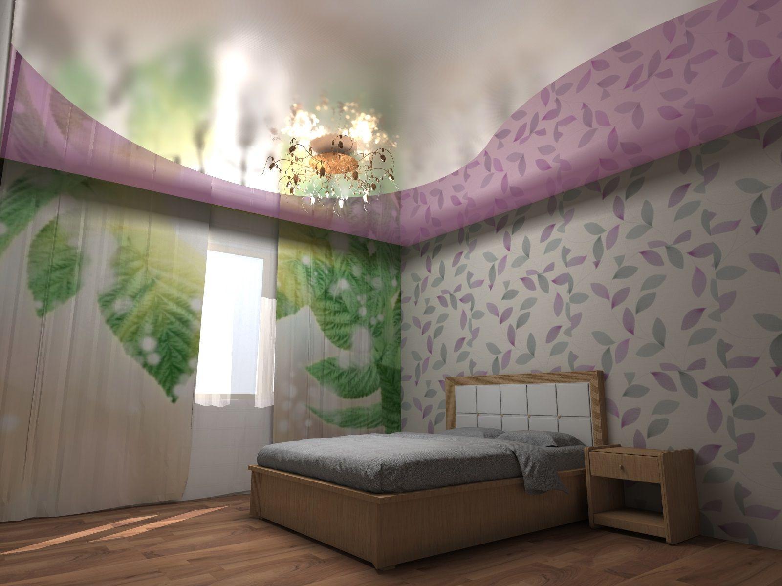 Двухцветные натяжные потолки в спальне фото